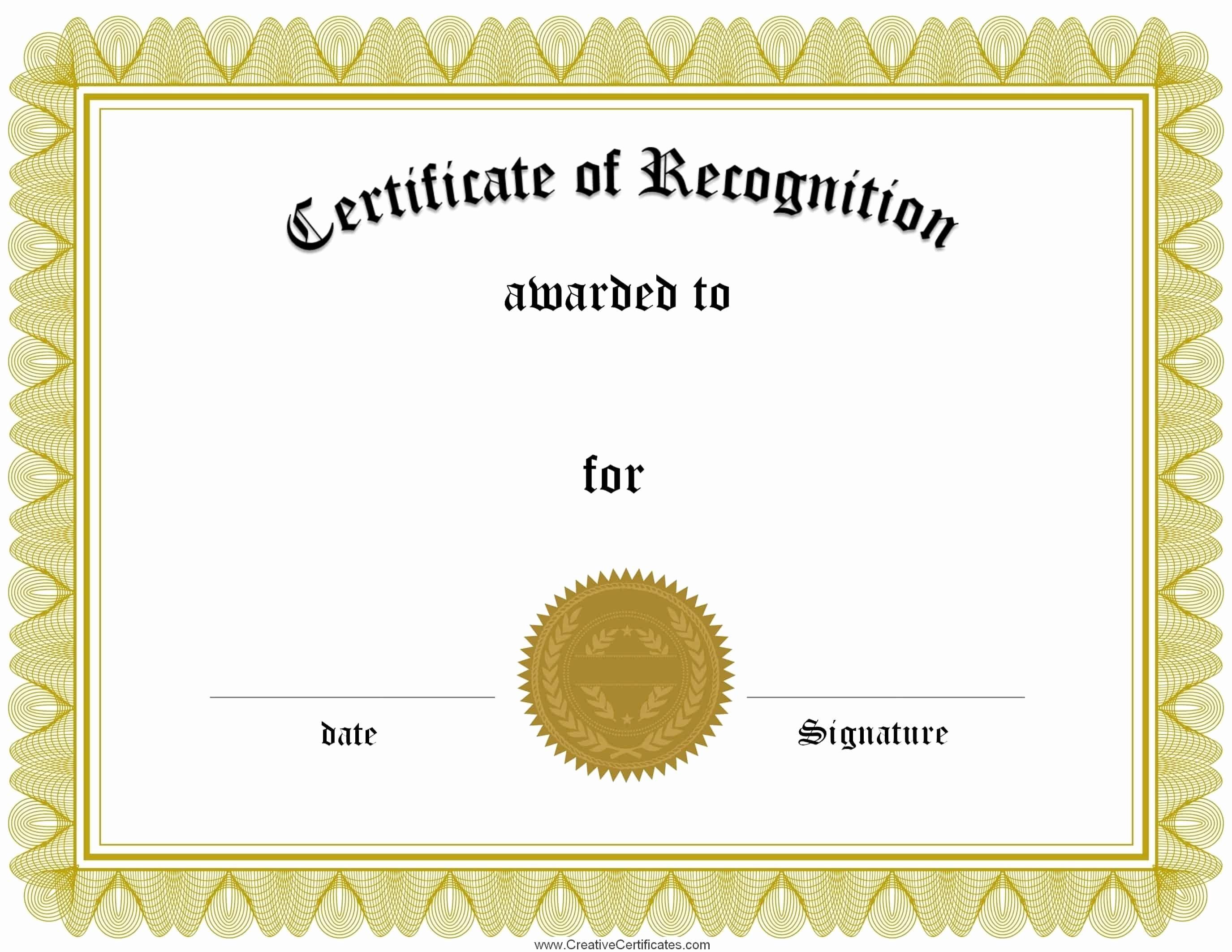 Template for Certificate Of Appreciation Lovely Free Certificate Of Recognition Template