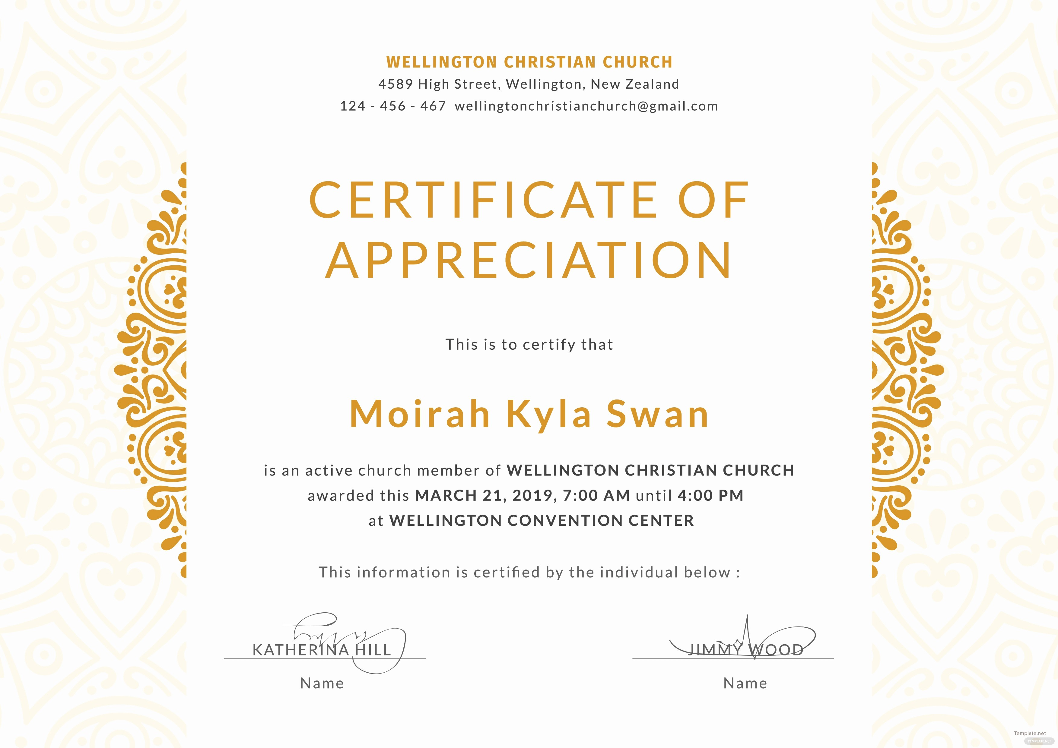 Template for Certificate Of Appreciation Lovely Free Church Certificate Of Appreciation Template In Adobe