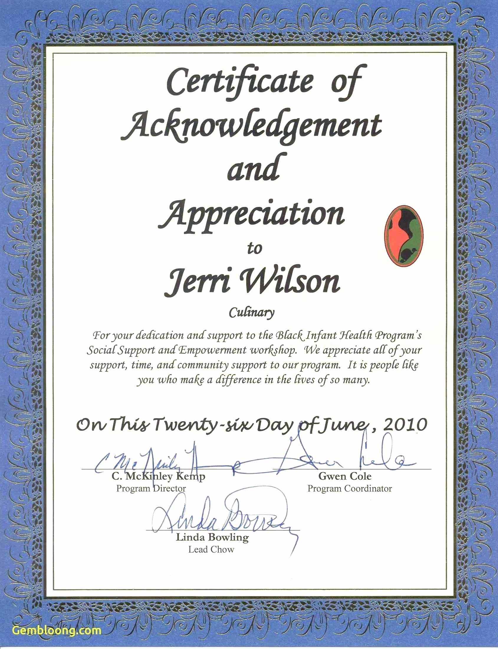 Template for Certificate Of Appreciation Unique Template Acknowledgement Certificate Template