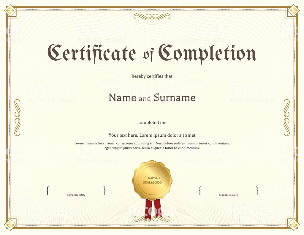 Template for Certificate Of Completion Fresh Certificate Pletion Template In Vintage theme Stock