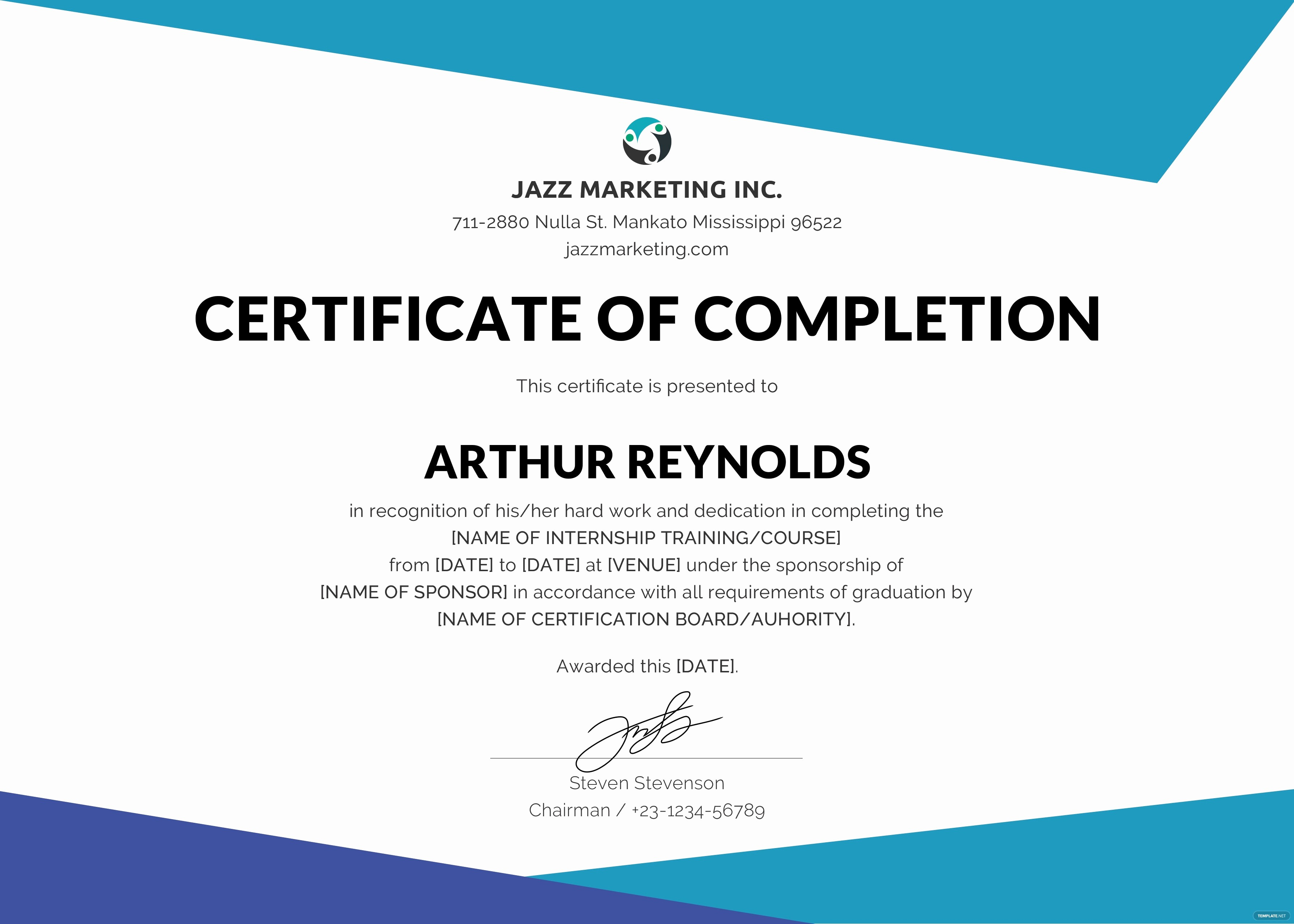 Template for Certificate Of Completion Luxury Free Course Pletion Certificate Template In Adobe