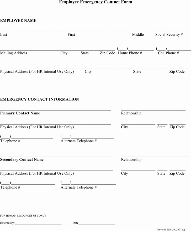 Template for Emergency Contact Information Awesome Employee Emergency Contact forms