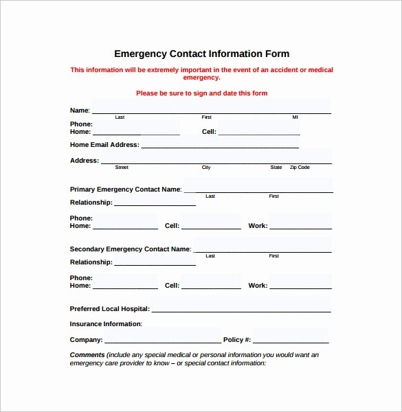 Template for Emergency Contact Information Beautiful 12 Sample Emergency Contact forms to Download