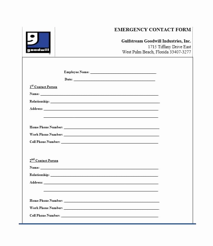 Template for Emergency Contact Information Beautiful 54 Free Emergency Contact forms [employee Student]