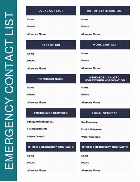 Template for Emergency Contact Information Beautiful Emergency Contact List