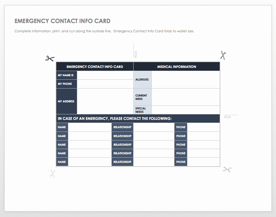 Template for Emergency Contact Information Elegant Free Contact List Templates