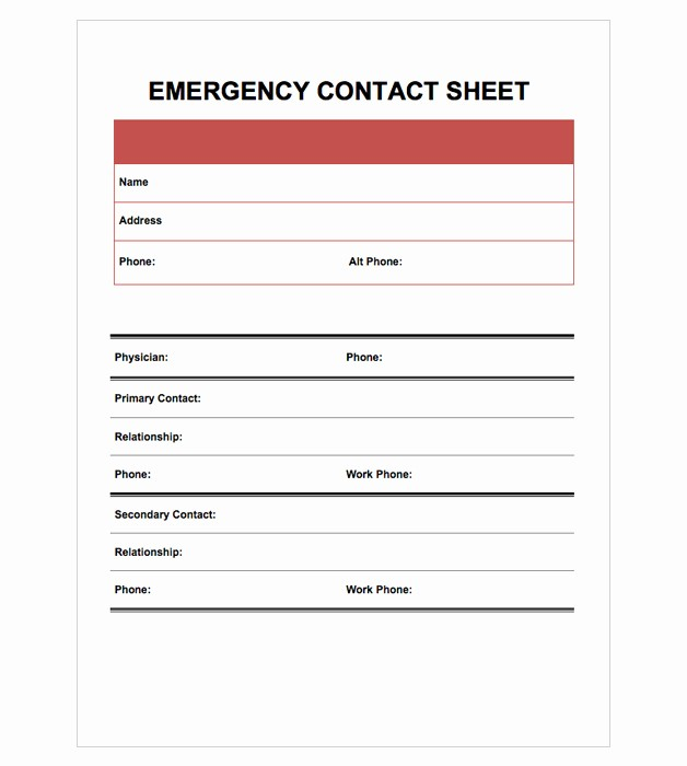 Template for Emergency Contact Information Luxury Easy Templates Manager