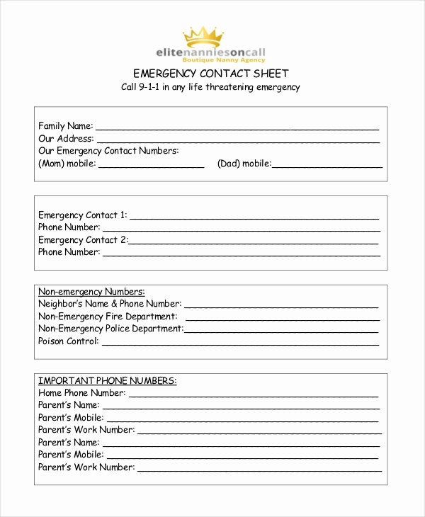 Template for Emergency Contact Information Luxury Emergency Contact form for Babysitter Idealstalist