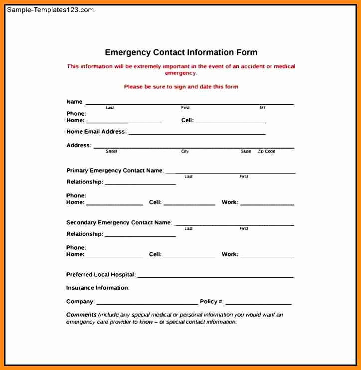 Template for Emergency Contact Information Luxury Employee Emergency Contact form Template
