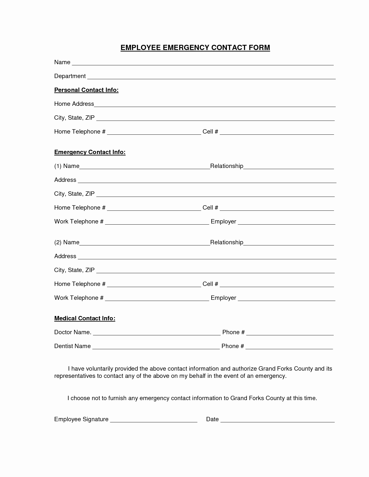 Template for Emergency Contact Information Luxury Employee Emergency Contact Printable form to Pin