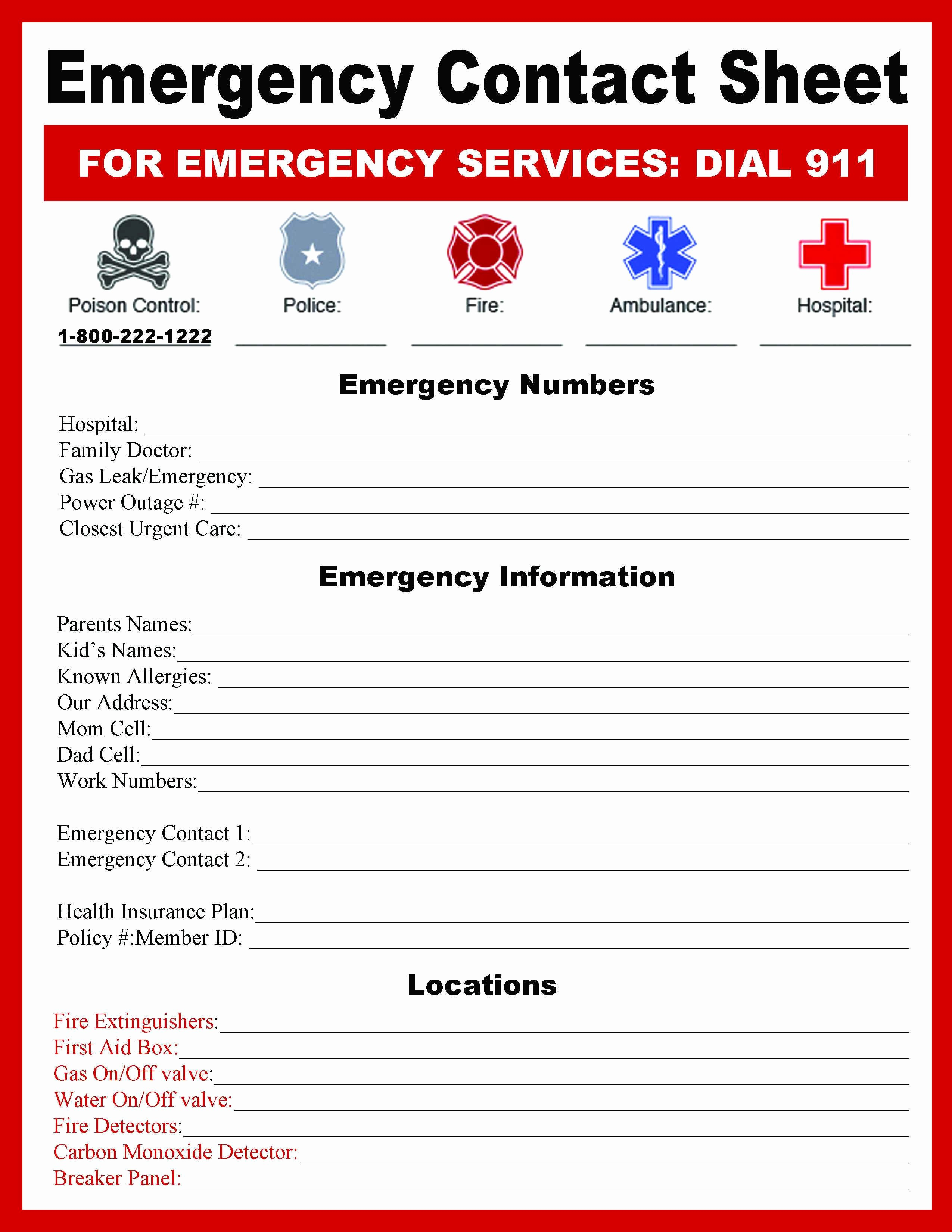 Template for Emergency Contact Information New Emergency Contact Sheet Bugaboocity