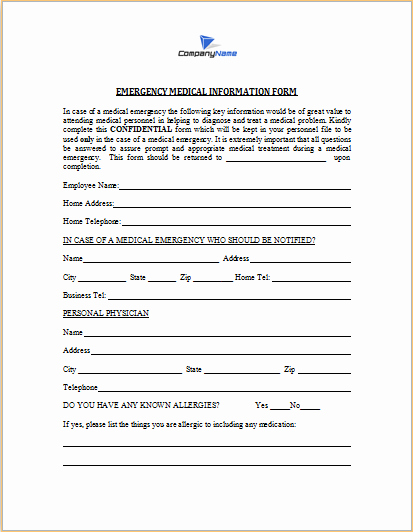 Template for Emergency Contact Information New Emergency Medical Information form