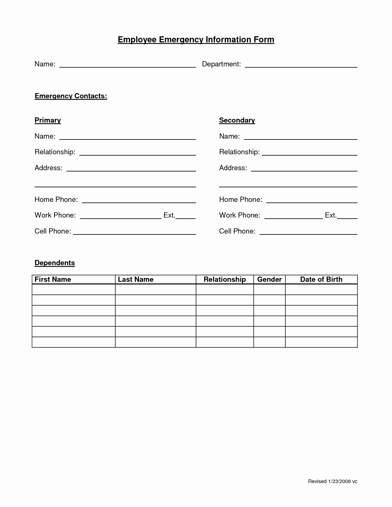 Template for Emergency Contact Information New Employee Emergency form