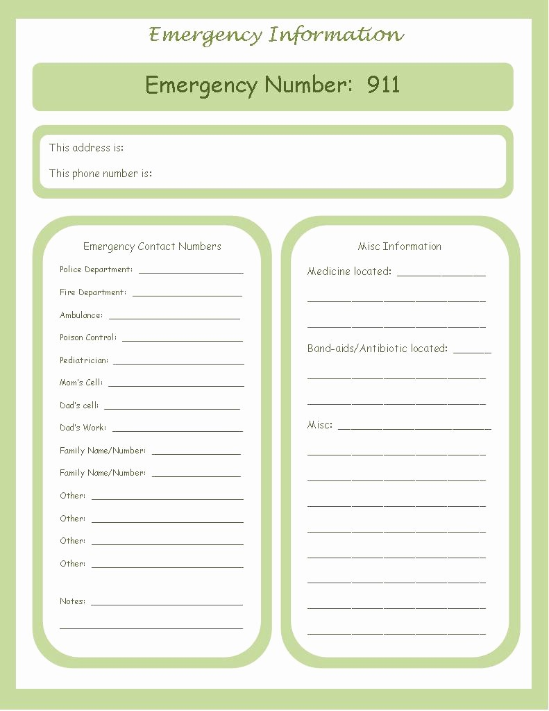 Template for Emergency Contact Information Unique A Sprinkle Of This Weekly organizational