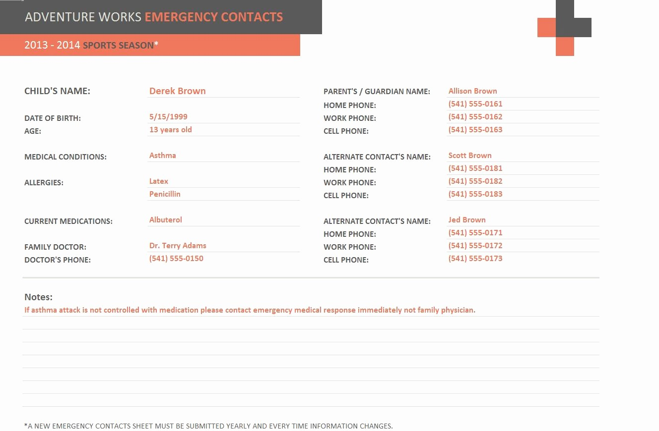 Template for Emergency Contact Information Unique Emergency Contact form Template