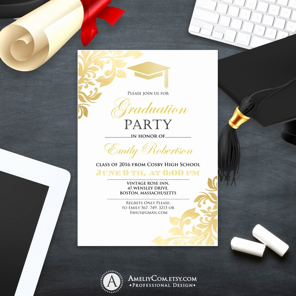 Template for Graduation Party Invitation Beautiful Graduation Party Invitation Template Printable Gold Foul Girl