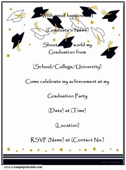 Template for Graduation Party Invitation Fresh Graduation Party Invitation Templates Free Printable