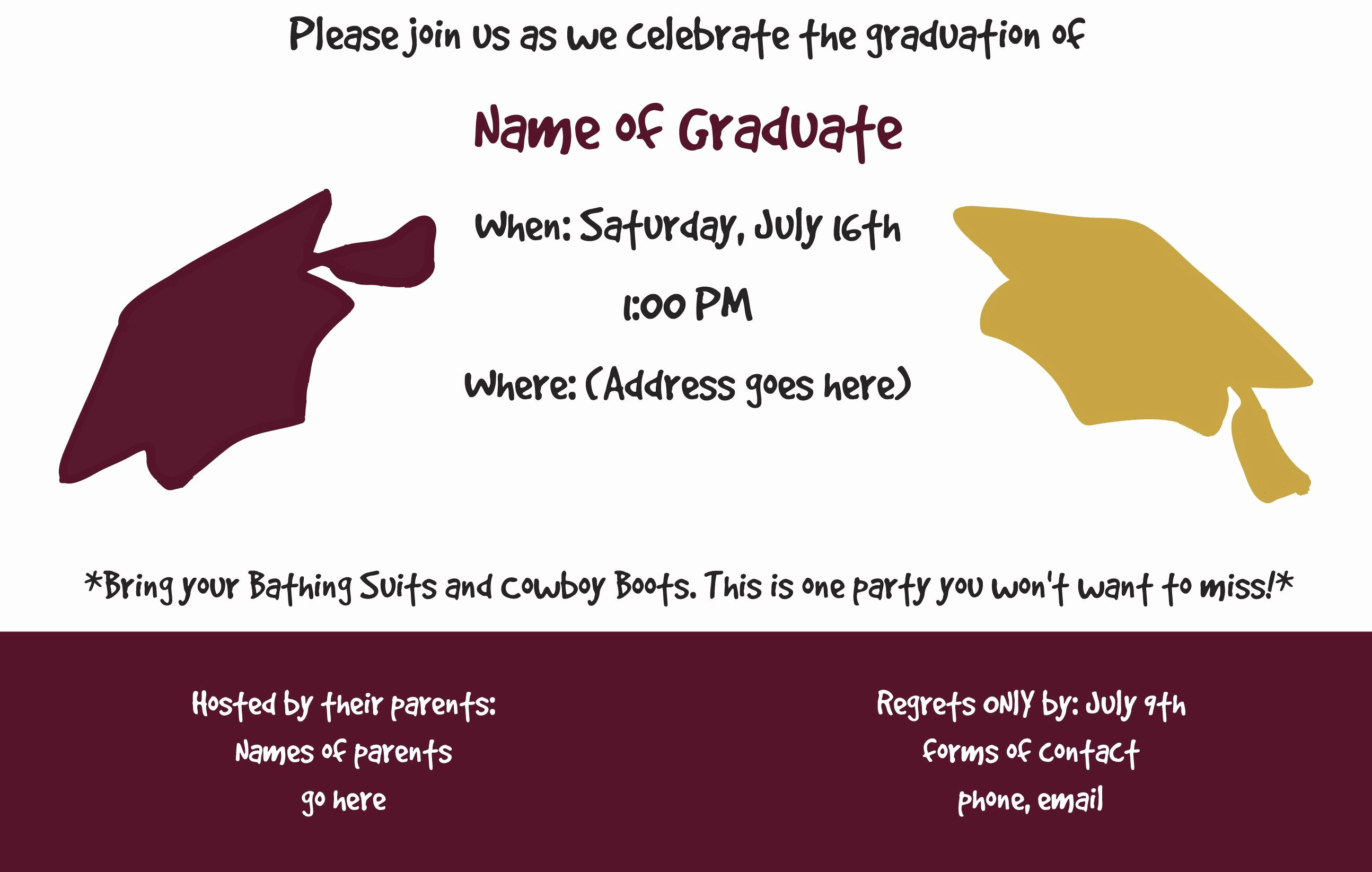 Template for Graduation Party Invitation Inspirational Graduation Party Invitation Template Graduation Party
