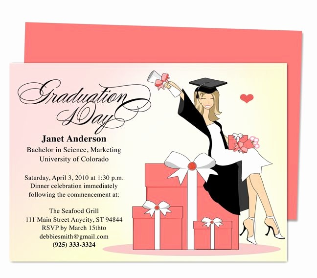 Template for Graduation Party Invitation Lovely Best 46 Printable Diy Graduation Announcements Templates