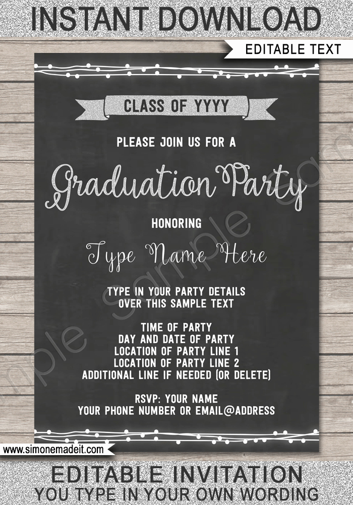 Template for Graduation Party Invitation Lovely Free Editable Chalkboard Invitation Template