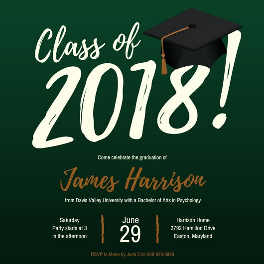 Template for Graduation Party Invitation Luxury Customize 86 Graduation Invitation Templates Online Canva