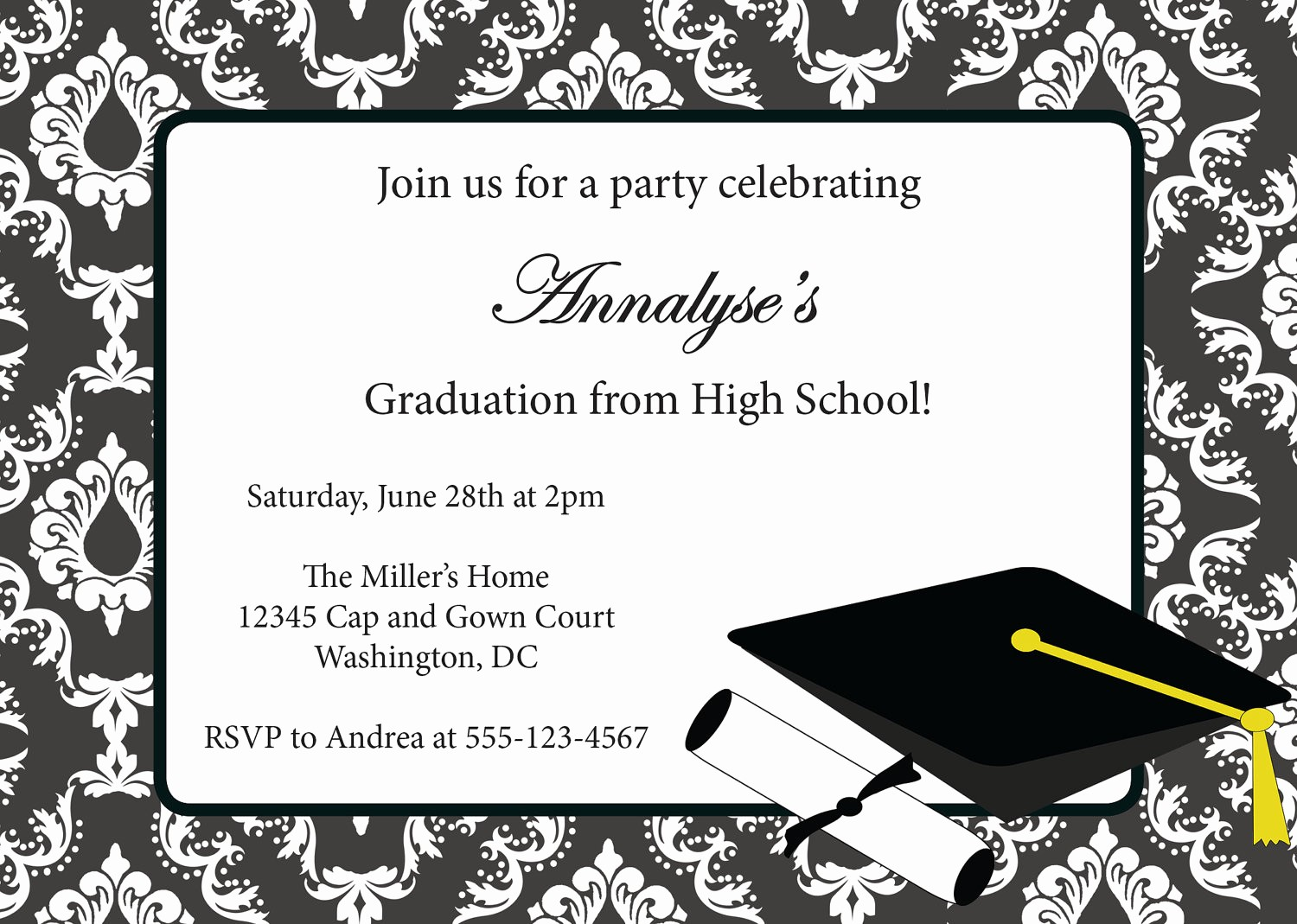 Template for Graduation Party Invitation Luxury Graduation Invitation Templates Free