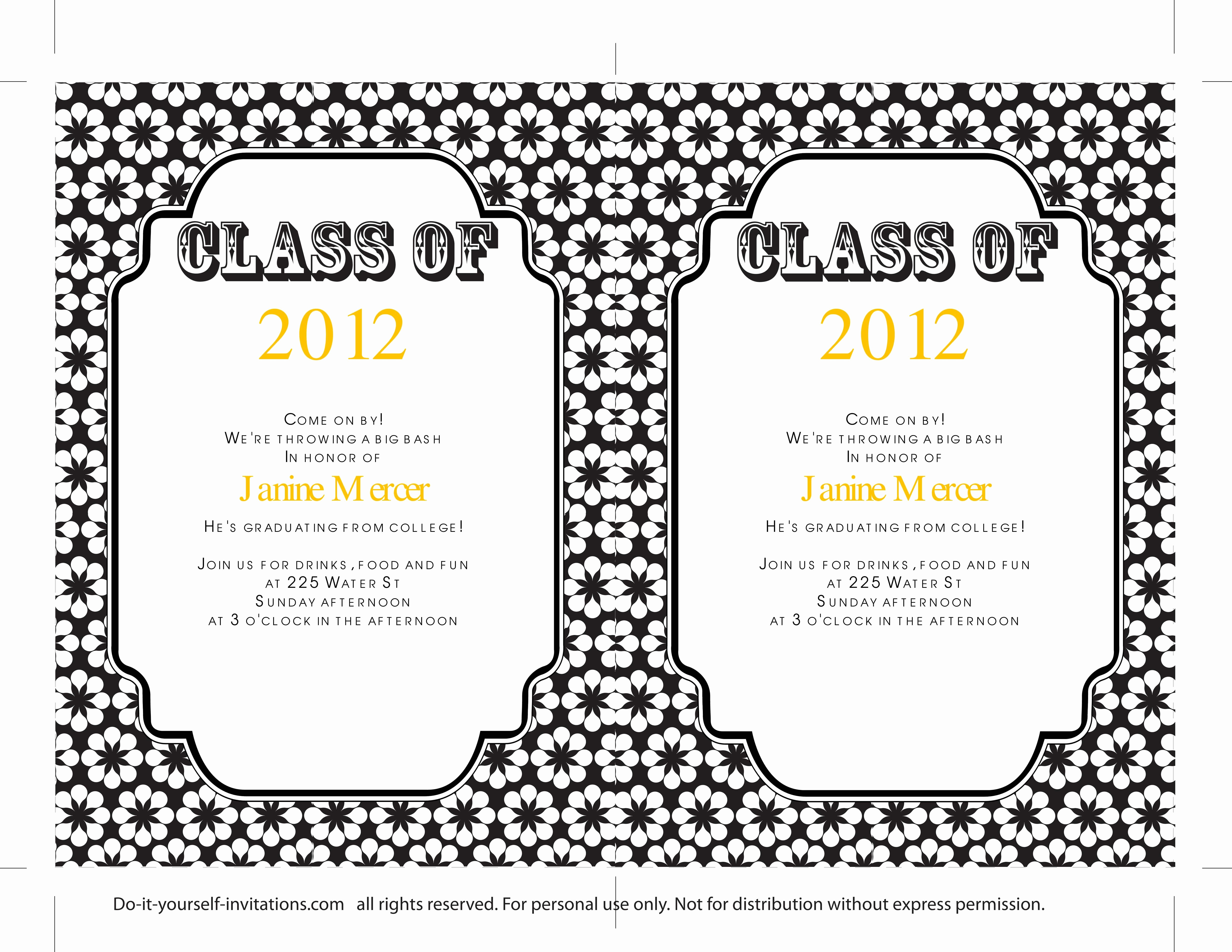 Template for Graduation Party Invitation Unique 40 Free Graduation Invitation Templates Template Lab