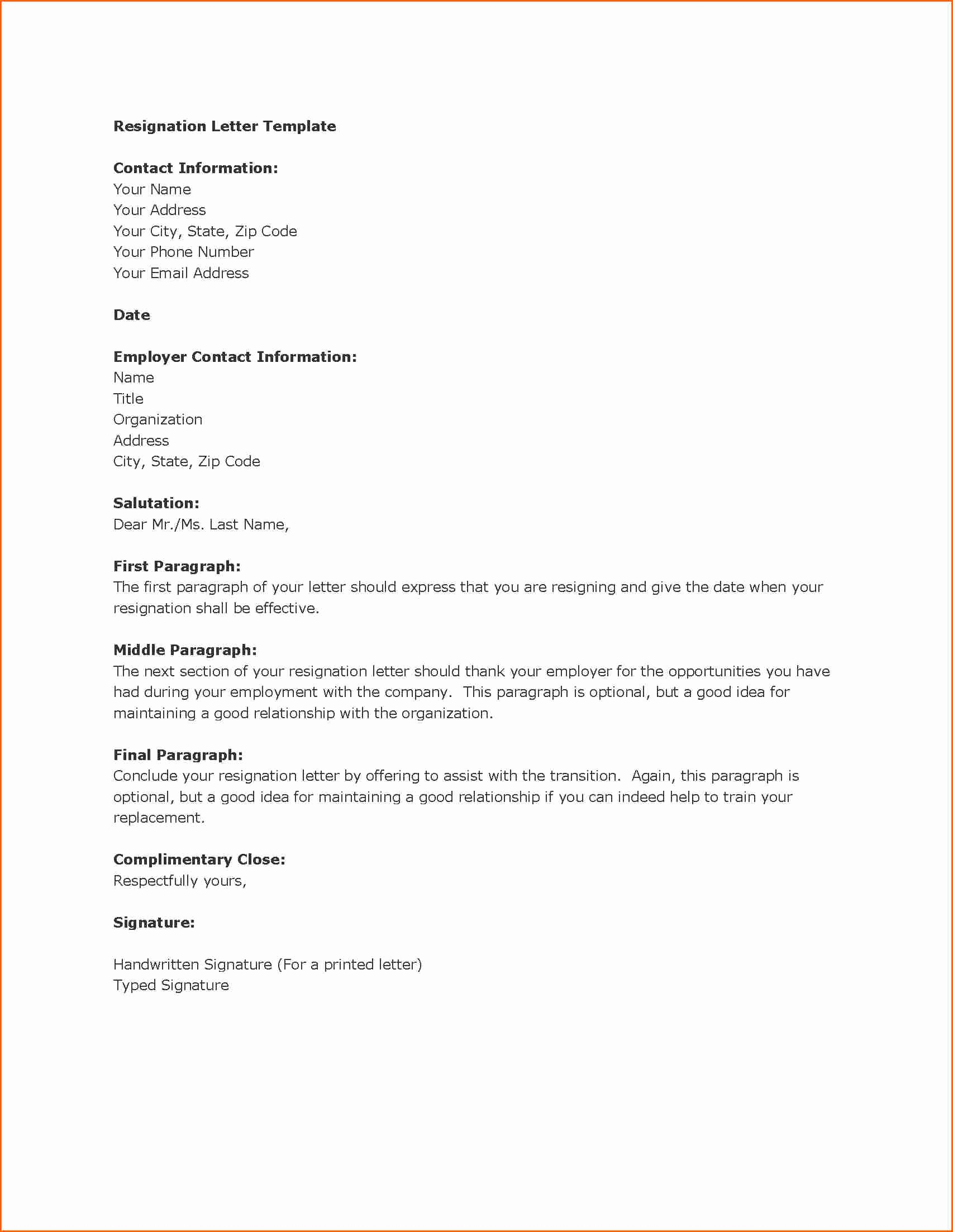 Template for Letter Of Resignation Awesome 13 Letter Resignation Template Bud Template Letter