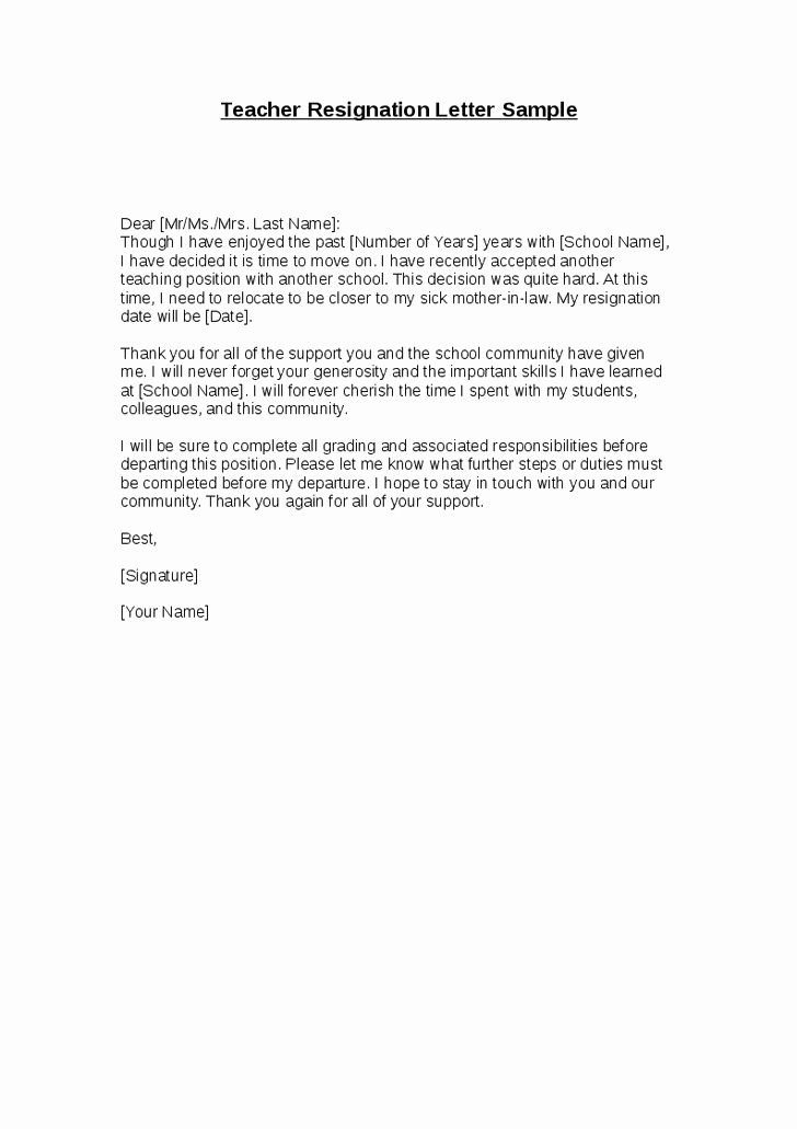 Template for Letter Of Resignation Best Of Letter Of Resignation Template Teacher Teacher Resignation