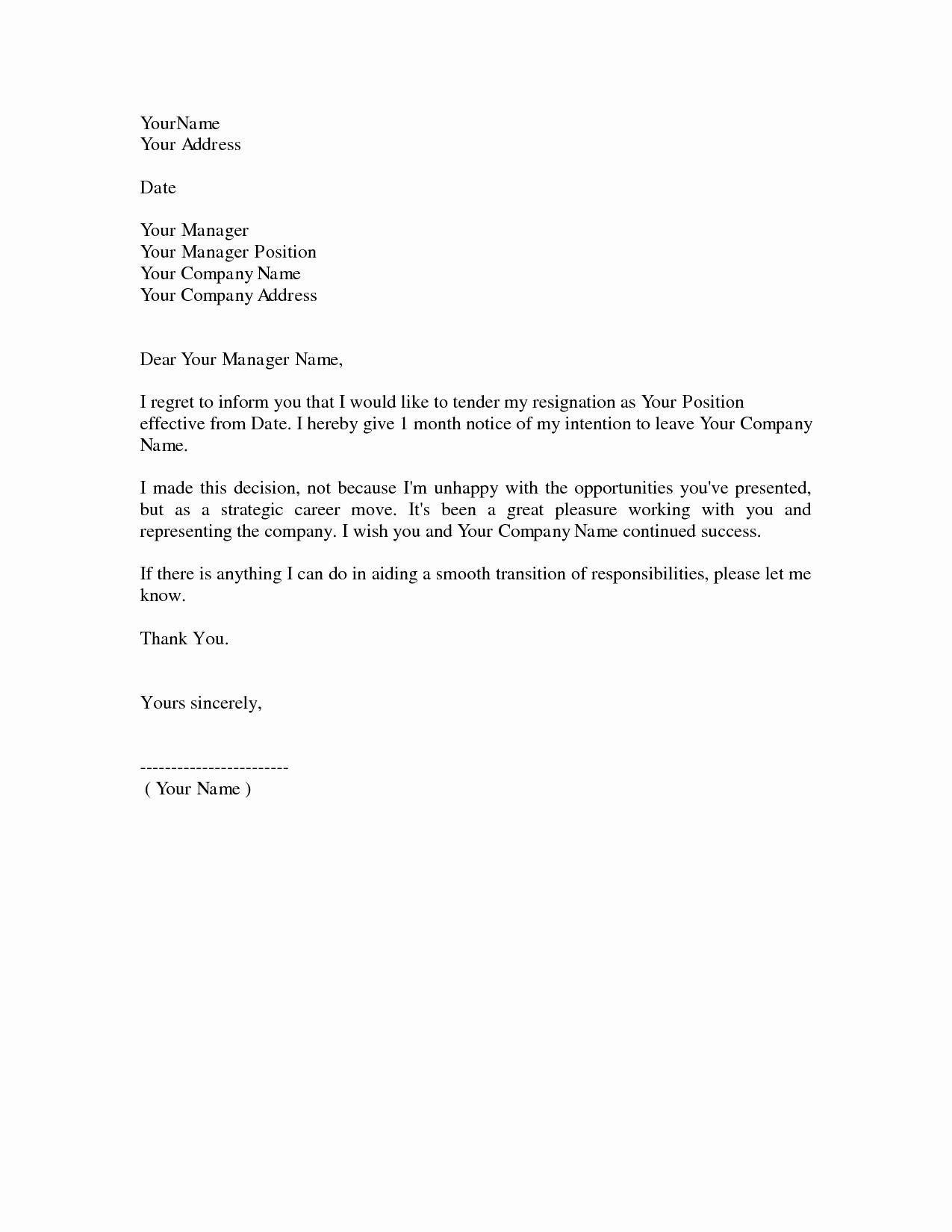 Template for Letter Of Resignation Fresh Resignation Letter Samples 0009 Future Ideas