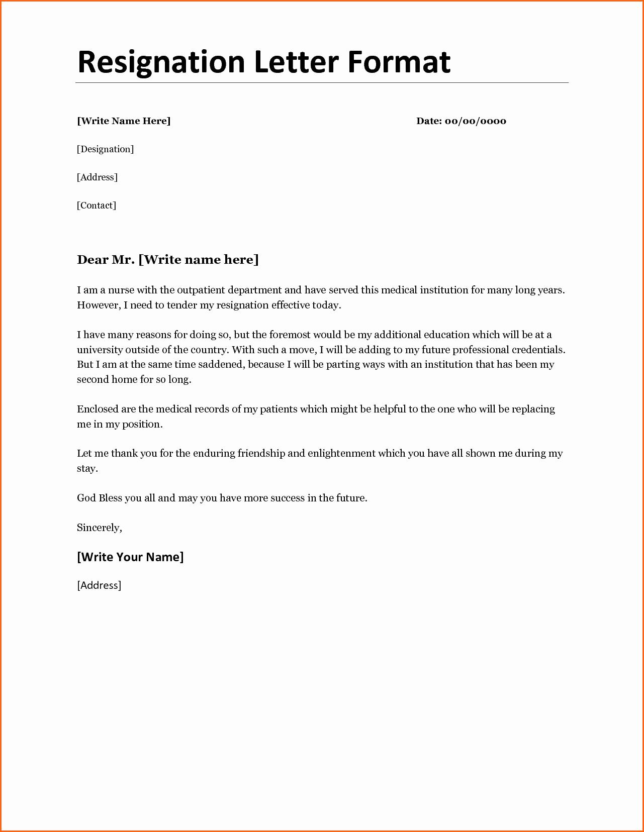 Template for Letter Of Resignation Inspirational 11 Resignation Letter format Bud Template Letter