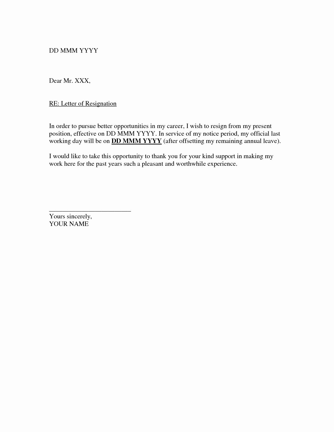 Template for Letter Of Resignation Lovely How to Write Easy Simple Resignation Letter Sample