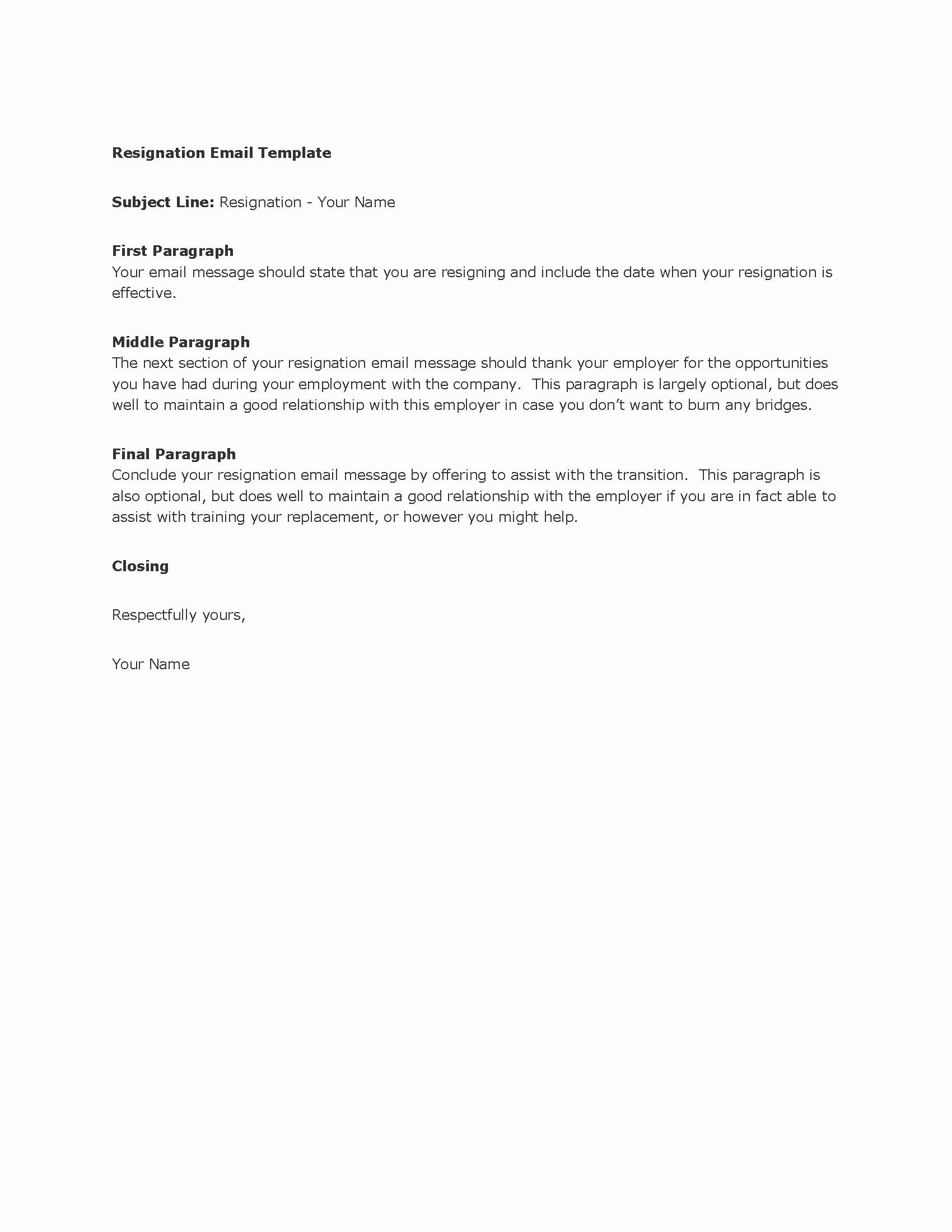 Template for Letter Of Resignation Lovely Resignation Email Template