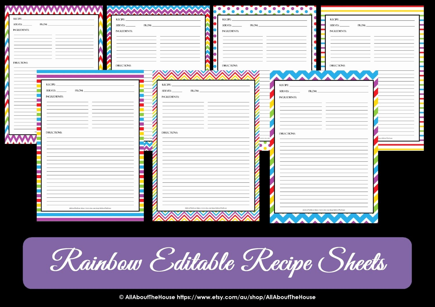Template for Recipes Full Page Awesome Editable Printable Chevron Recipe Template Recipe Card