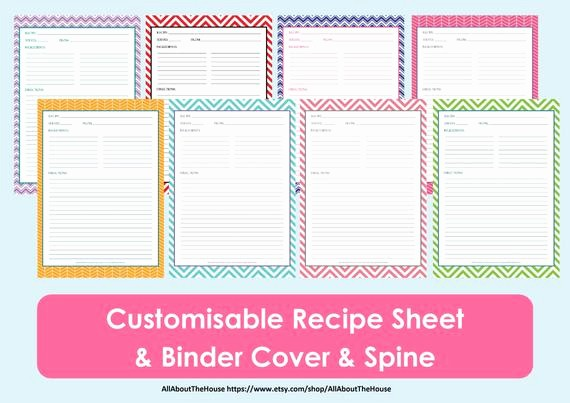 Template for Recipes Full Page Beautiful Printable Recipe Sheet Template Recipe Card Recipe Binder