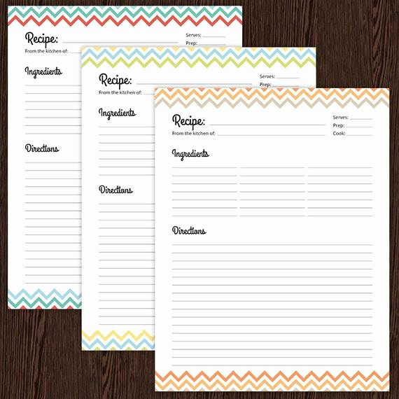 Template for Recipes Full Page Beautiful Recipe Card Full Page Colourful Chevron Fillable