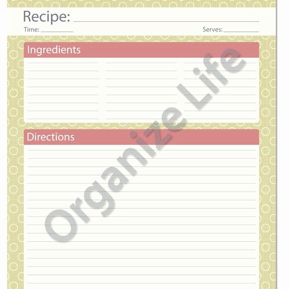 Template for Recipes Full Page Beautiful Recipe Card Full Page Recipe Template Printable Pdf