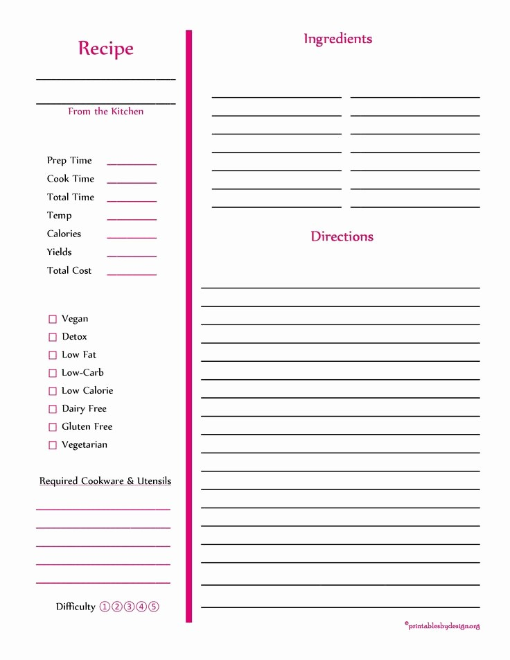 Template for Recipes Full Page Elegant 103 Best Free Recipe Cards Pages Images On Pinterest