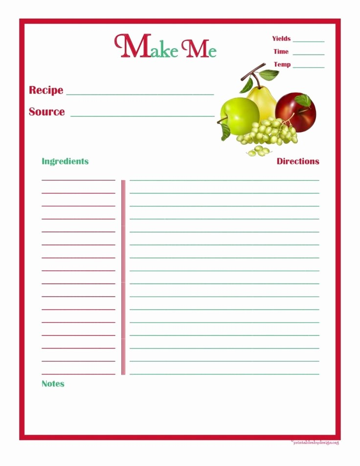 Template for Recipes Full Page Elegant 7 Best Recipe Template Images On Pinterest