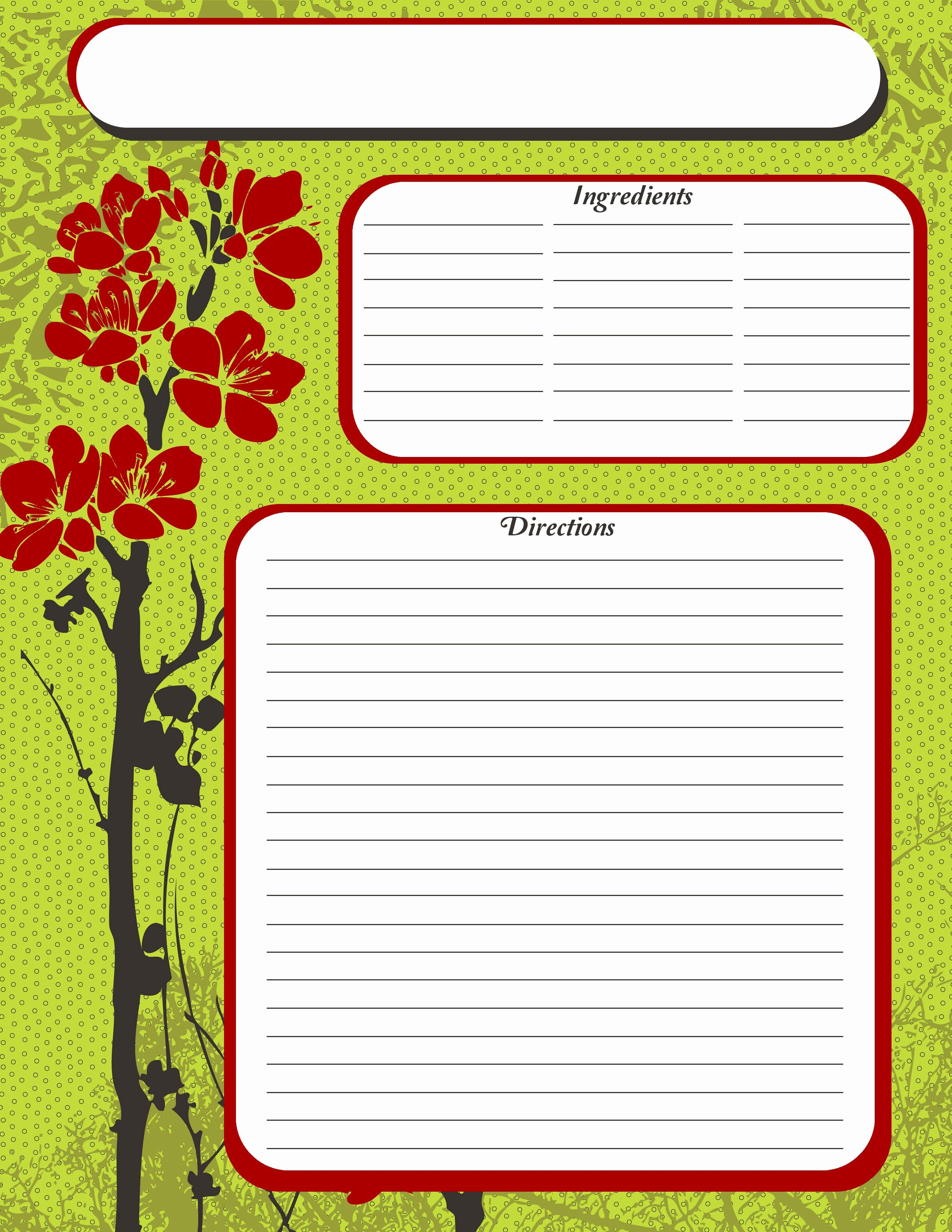 Template for Recipes Full Page Inspirational Full Page Recipe Template Free
