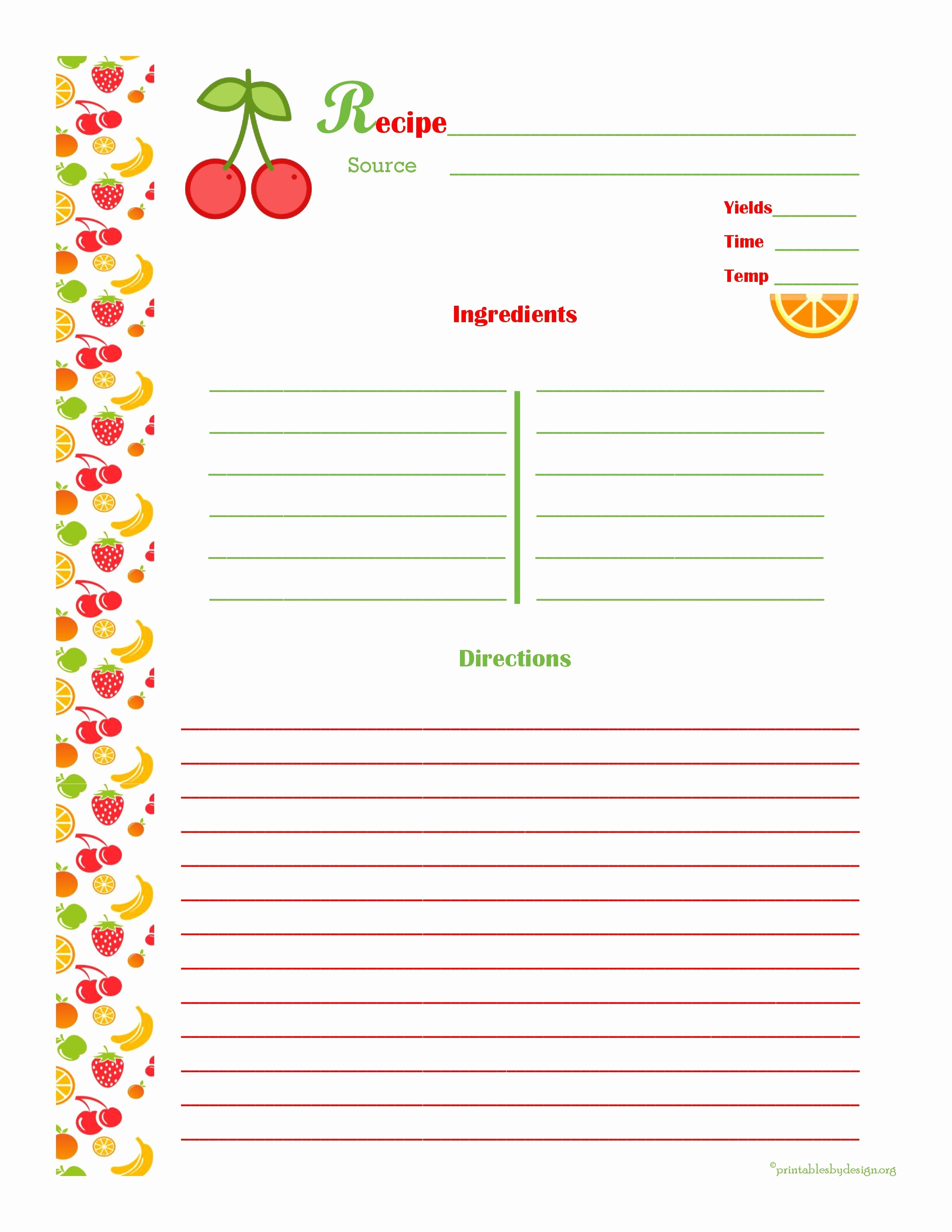 Template for Recipes Full Page Lovely Cherry & orange Recipe Card Full Page
