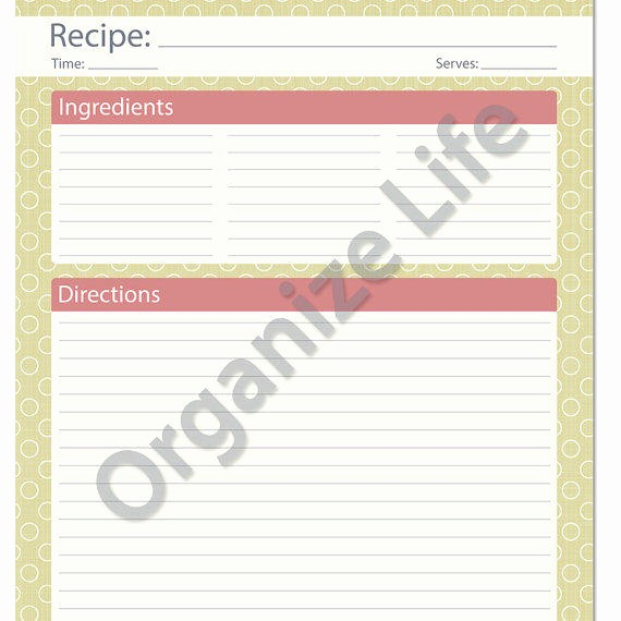 Template for Recipes Full Page Luxury Recipe Card Full Page Recipe Template From organizelife On