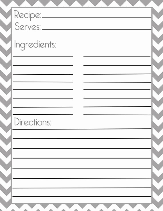 Template for Recipes Full Page New Chevron Gray Recipe Page and Filler Page