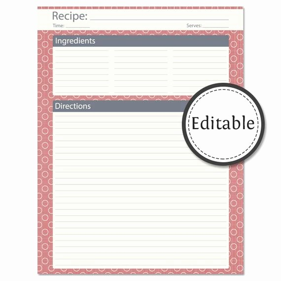 Template for Recipes Full Page Unique Recipe Card Full Page Fillable Instant