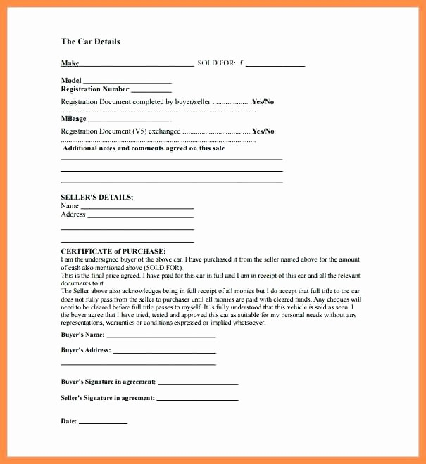Template for Selling A Car Best Of Receipt Car Sale Used Car Sale Receipt Template Deposit