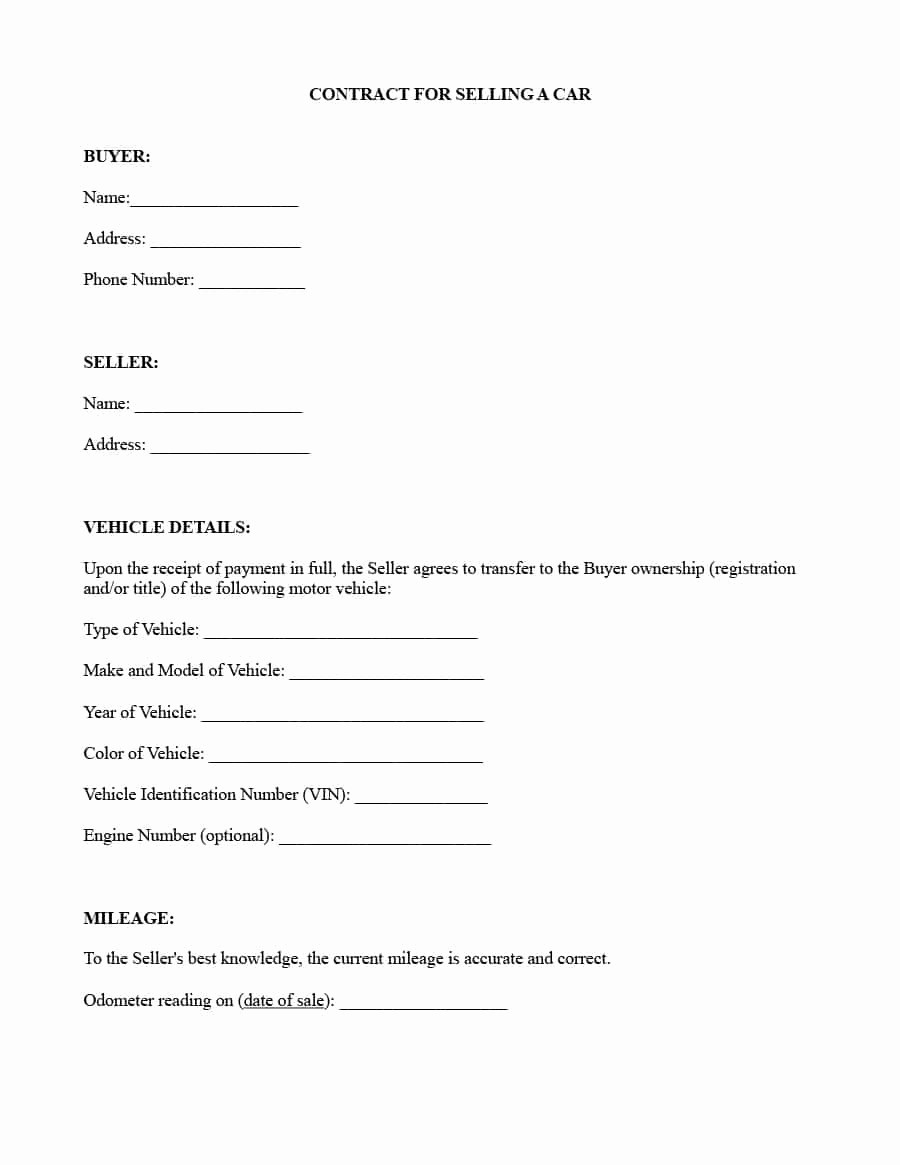 Template for Selling A Car Inspirational 42 Printable Vehicle Purchase Agreement Templates