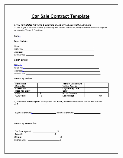 Template for Selling A Car Unique Vehicle Sale Agreement Template