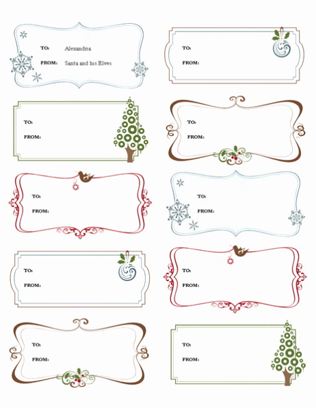 Template for Tags for Gifts Awesome Free Printable Gift Tags Templates
