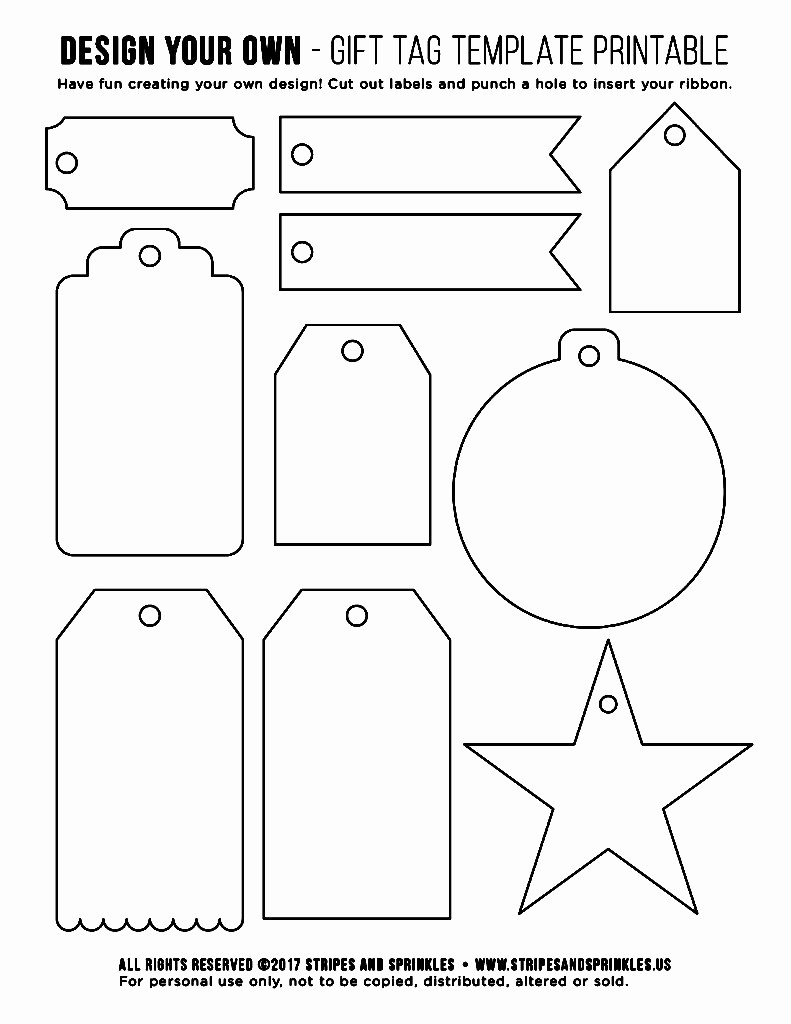 Template for Tags for Gifts Elegant Free Gift Tag Template Printable Stripes & Sprinkles
