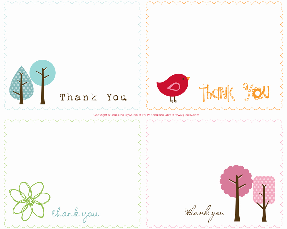 Template for Thank You Card Elegant Free Printable Thank You Notes June Lily